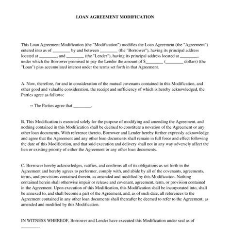 loan modification agreement template loan agreement modification free sle template