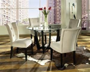 Modern tempered round glass metal base dining room set table chair