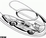 Coloriage Une voiture de course Hot Wheel dans une boucle du circuit