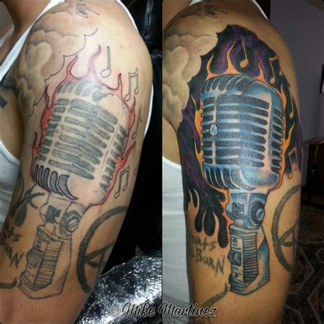 microphone tattoo cover up mikemartineztattoo repair cover up color microphone music