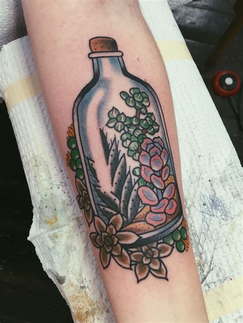 watercolor tattoos oregon succulents in a bottle by allyson at scapegoat