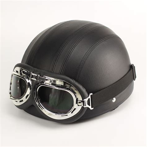 leather motorcycle helmet leather motorcycle helmet half open with goggles