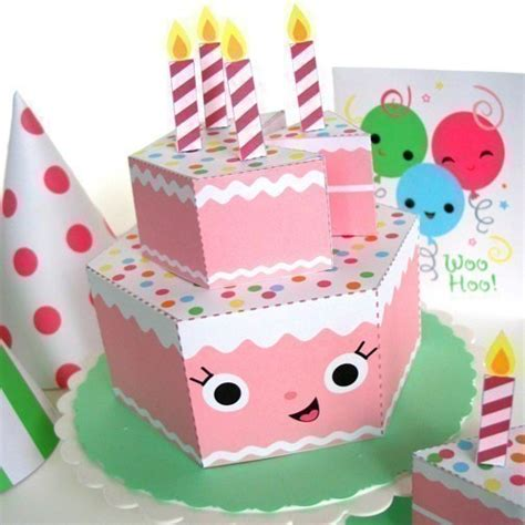 Paper Craft Birthday - happy birthday strawberry cake playset printable