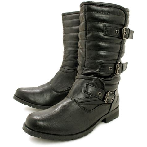 buy flat buckle quilted biker ankle boots black