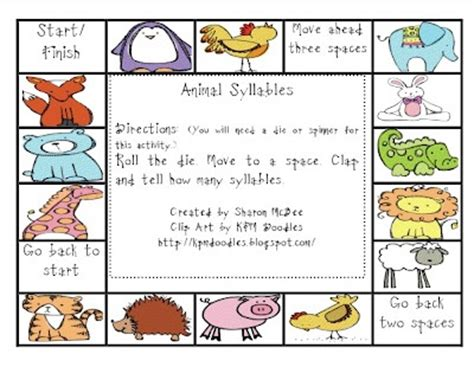 printable syllable games 17 best images about syllables on pinterest english