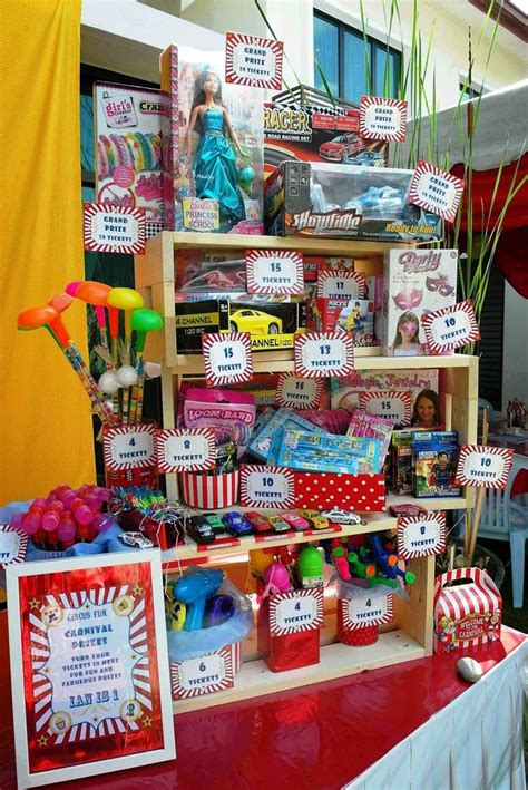 carnival prizes booth lizzie as a mummy ian s 1st birthday circus carnival diy - Booth Giveaways