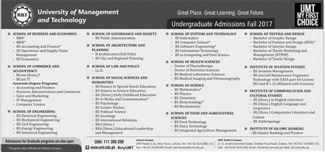 Mba Umt by Umt Of Management And Technology Lahore