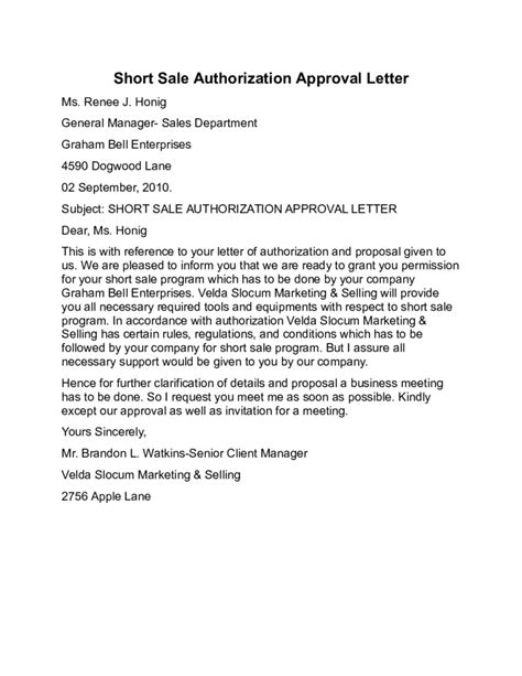 Sle Authorization Letter To Lease Sale Authorization Approval Letter Sle Free