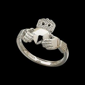 small platinum claddagh ring