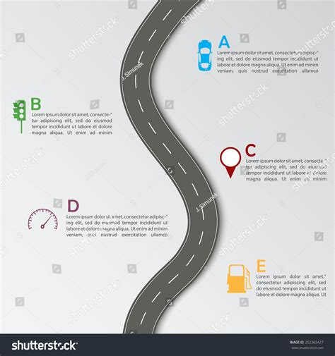 road template road infographic template stock vector illustration
