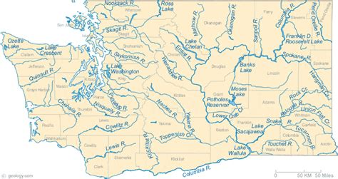 rivers map map of washington lakes streams and rivers