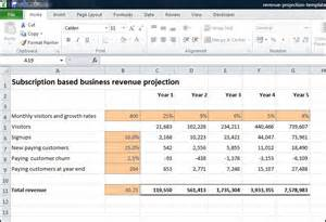 revenue projections template subscription based business revenue projection plan