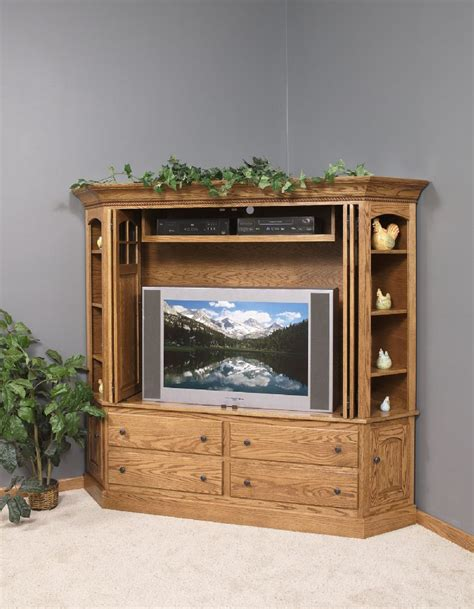 Corner Television Armoire by Amish Corner Entertainment Center 7026
