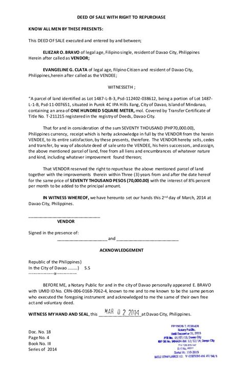 Deed Of Sale With Right To Repurchase Car Sale Deed Template Usa