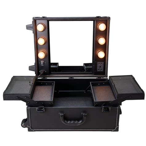 makeup box with lights and mirror rolling studio makeup artist pvc cosmetic case w light