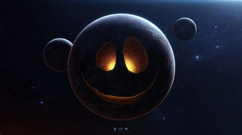 wallpaper black hole kid smiling planet face stars humor funny smiley space halloween