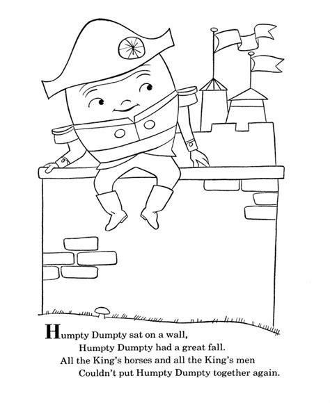 Bluebonkers Nursery Rhymes Coloring Page Sheets Humpty Dumpty Mother Goose Humpty Dumpty Coloring Page
