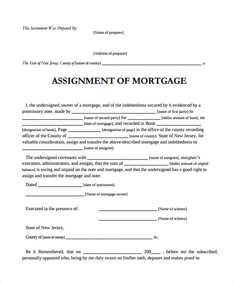mortgage template sle assignment of mortgage template 9 free documents