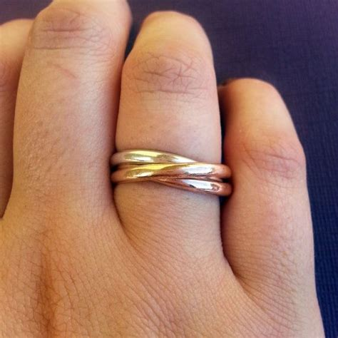 mixed metal spinner ring silver gold copper spinner ring mixed metal russian wedding ring silver rose gold