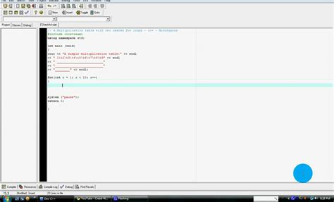 how to do a multiplication table in c using two nested for loops