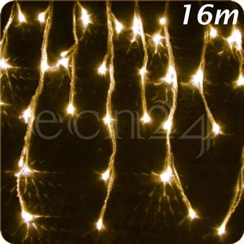 led icicle lights 16m warm white decoration christmas ebay