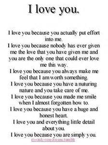 Love you because you actually put effort into me love quote