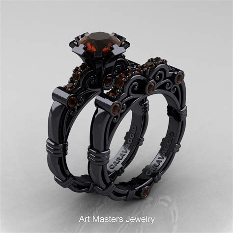 Black Wedding Rings by Masters Caravaggio 14k Black Gold 1 0 Ct Brown