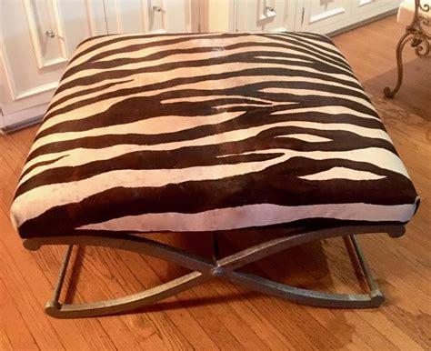 zebra bench ottoman zebra hide quot x quot frame bench ottoman for sale at 1stdibs