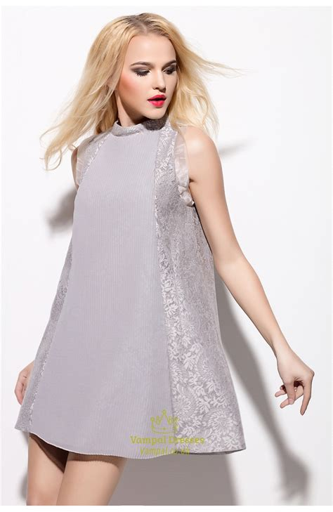 Sleeveless Lace Cocktail Dress grey lace embellished sleeveless cocktail dress