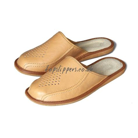 best house slipper buy tan leather house slippers mules for men model no 314j eco