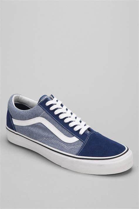 vans chambray lyst vans skool suede chambray mens sneaker in blue