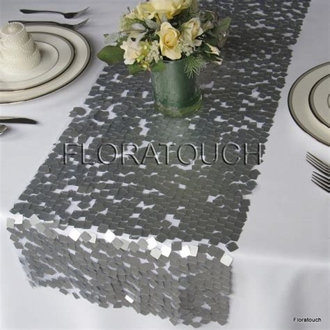 Silver Table Runner dazzle square silver sequin table runner wedding table runner