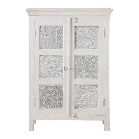 Solid Wood White Wardrobes by Solid Mango Wood Wardrobe In White And Silver W 84cm