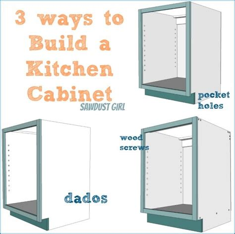 kitchen cabinet joinery three ways to build a basic kitchen cabinet sawdust girl 174