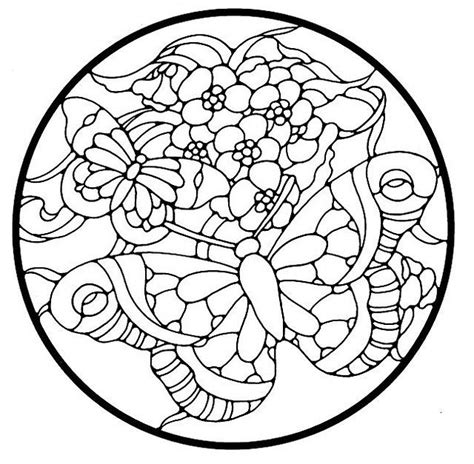 coloring pages stained glass patterns flower mandala picture to color stained glass window