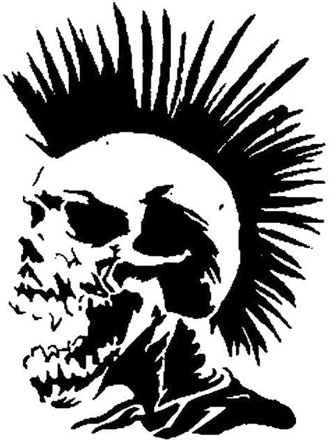 Punk hair skull PNG