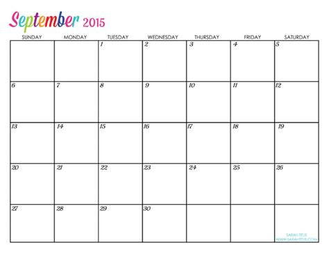 Printable Calendar Weekly October 2015 September 2015 Weekly Printable Calendar Printable