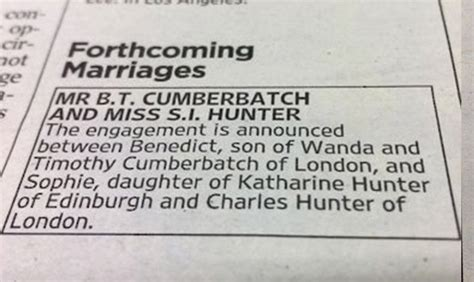 Wedding Announcement Goes Viral by Benedict Cumberbatch S Subtle Engagement Announcement Goes