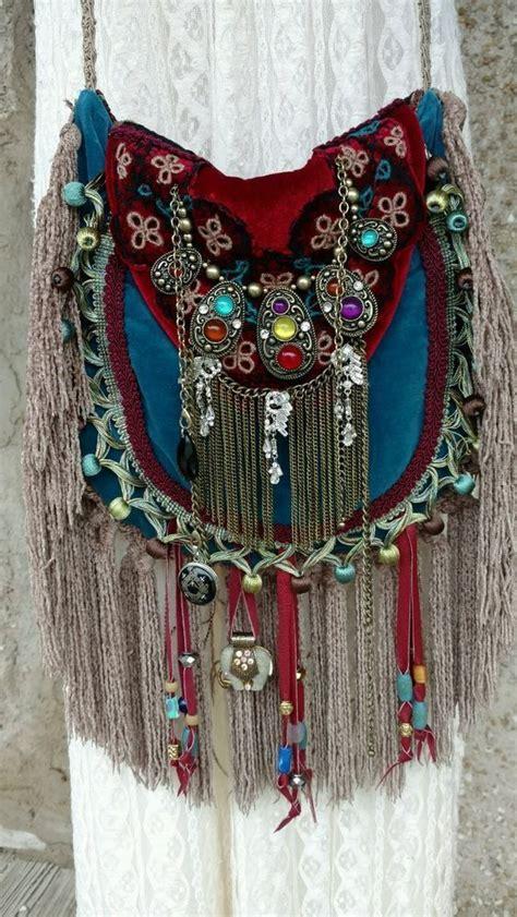Handmade Hippie Bags - handmade velvet fringe bag hippie boho hobo ibiza