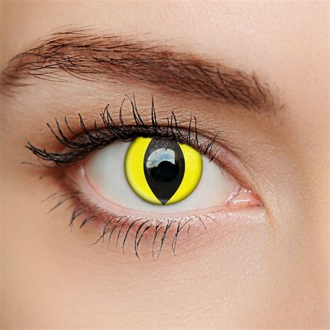 eye colored contacts scary yellow cat eye contact lenses