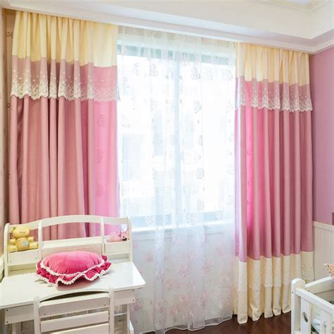 pink print curtains pink print lace velvet and linen kids curtains in dreamy style