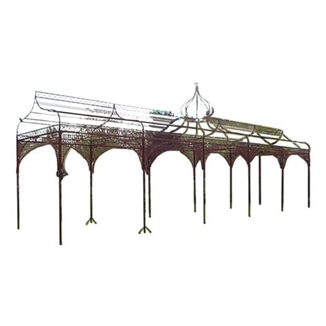 mid victorian hand wrought and cast iron pergola or