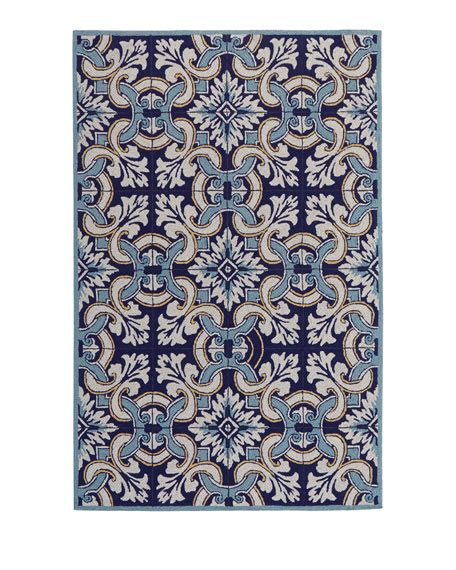 Paige Floral Tile Indoor Outdoor Rug Horchow Outdoor Rugs