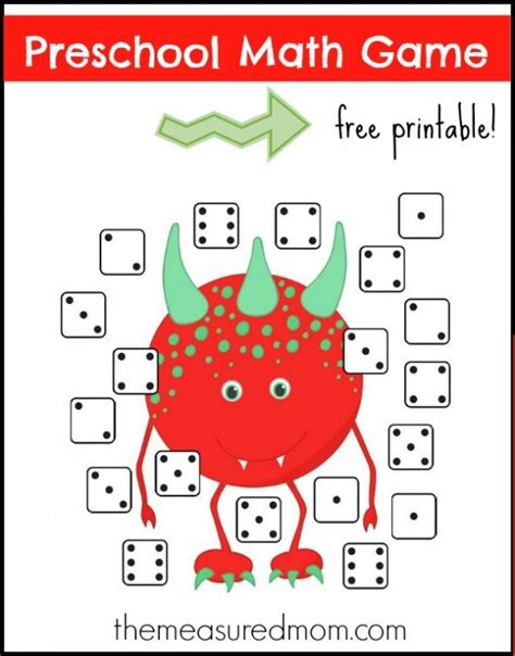 printable maths games for kindergarten free free monster preschool math game