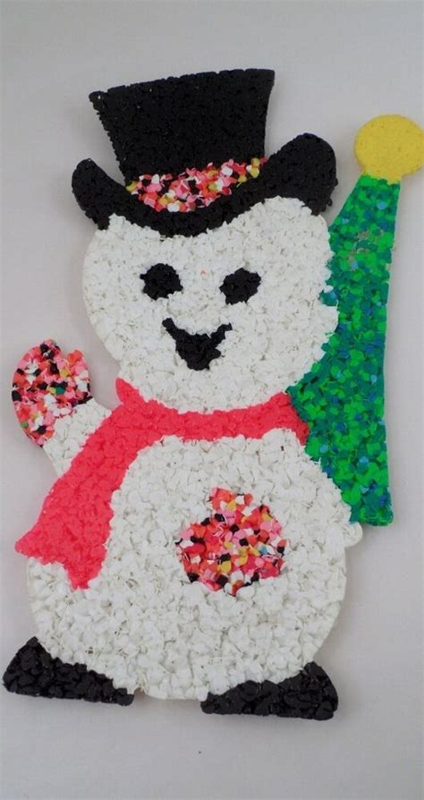 melted plastic christmas decorations vintage mid century frosty snowman popcorn melted plastic decoration ebay