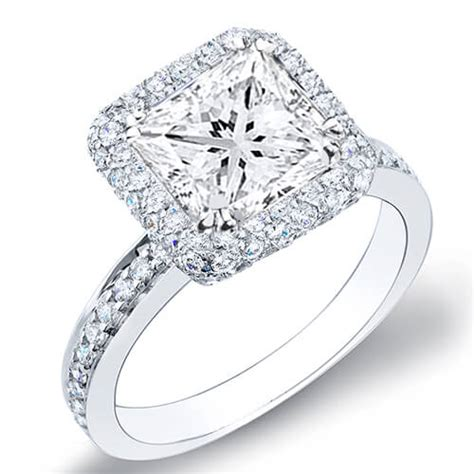 3 08 ct princess cut halo micro pave engagement