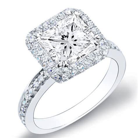 3 11 ct princess cut halo micro pave engagement