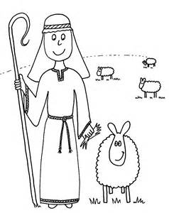 Shepherd And Sheep Coloring Page sketch template