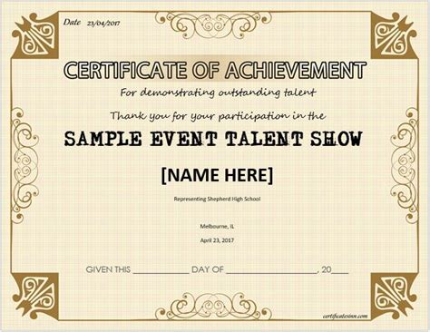 talent show certificate talent show award certificates for ms word professional