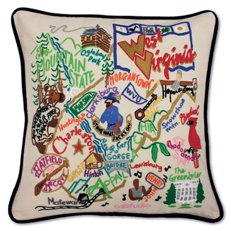 west virginia xl embroidered pillow by catstudio